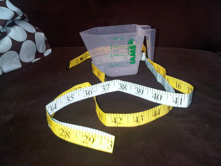 Tape measure and measuring cup for cat weight loss