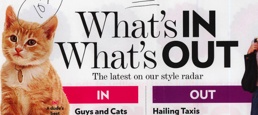 "US WEEKLY ""What's In and What's Out"" list"