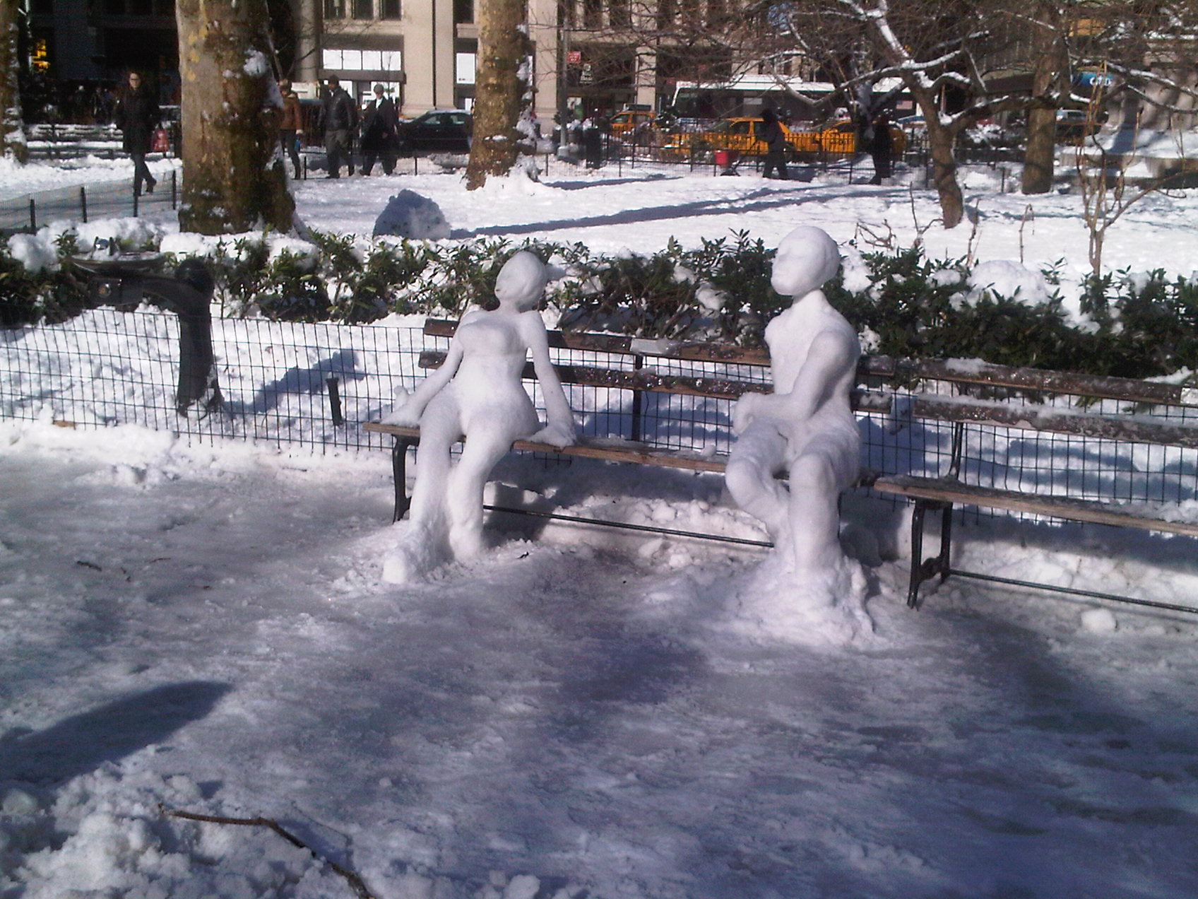 Snow sculptures Madison Square Park